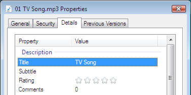 A file's properties in Windows is where you can change the track name of an MP3