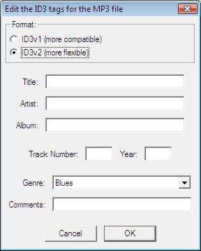 Audacity MP3 exporting - set your track name and other information here